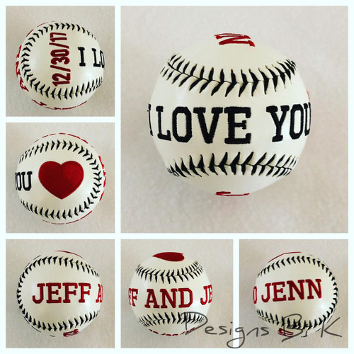 Custom embroidered wedding baseball with couples first names