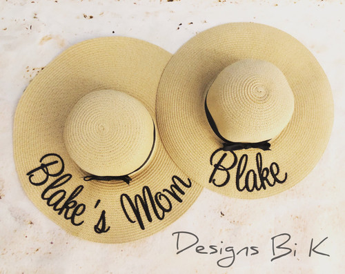 Personalized matching floppy beach hats with daughters first name and Mom