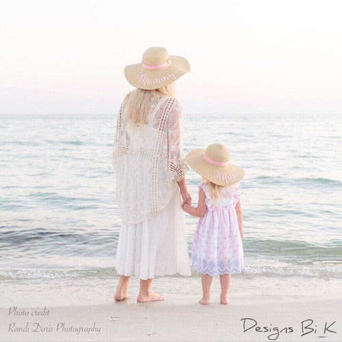 Custom mommy and mini natural color matching floppy beach straw hat set