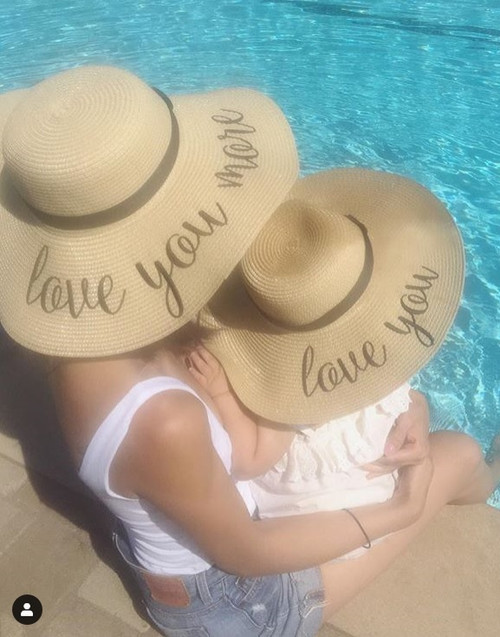 Custom embroidered matching beach hat set with love you and love you more