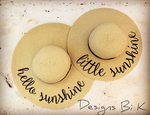 Hello sunshine and little sunshine personalized matching beach hat set