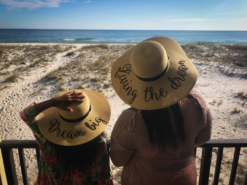 Living the dream and dream big personalized matching beach hat set