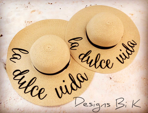 La dulce vida personalized natural color matching beach hat set