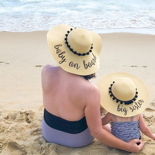 "Personalized matching beach hat set with ""baby on board"" and big sister"