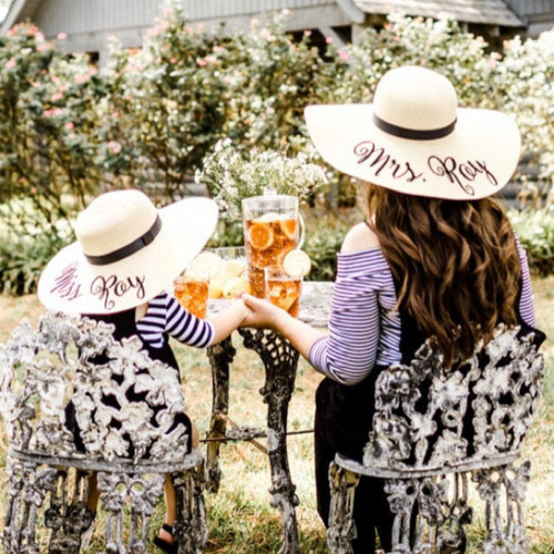 Personalized mother daughter matching floppy beach hats embroidered with Mrs.xxx & Miss xxx