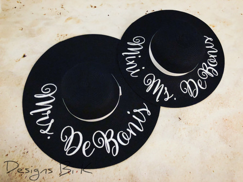 Personalized mother daughter matching floppy beach hats embroidered with Mrs & Mini Ms