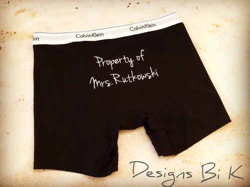 Black boxer briefs with Property of Mrs.