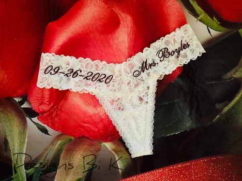Personalized bridal underwear with Mrs and/or wedding date