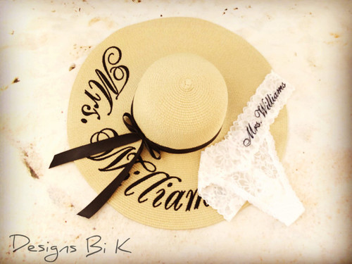 Personalized bridal set with white Mrs. hat and bridal  thongs