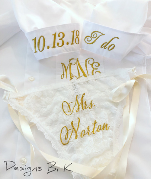 Monogrammed bridal shirt with initials and side-tie panty with Mrs.