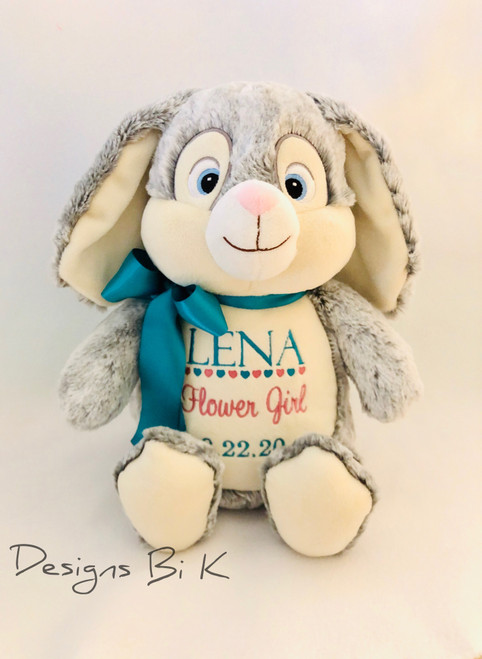Personalized stuffed animal for flower girl proposal