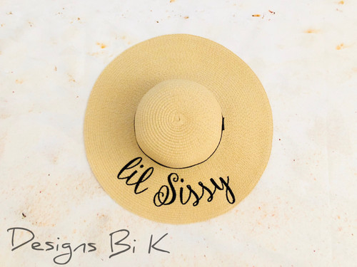 Personalized kids straw hat embroidered with Lil Sissy