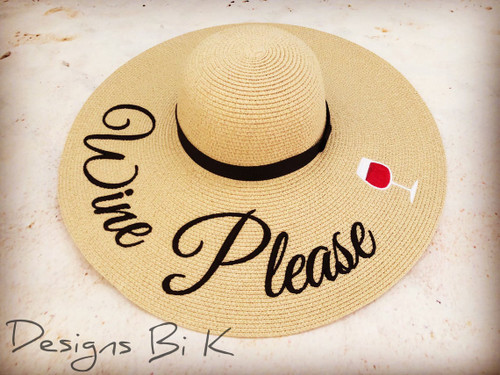 Custom embroidered wide brim 6 inch natural color floppy beach sun hat with wine please and wine glass
