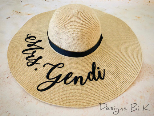 Natural color large brim floppy summer beach hat custom embroidered with Mrs and last name