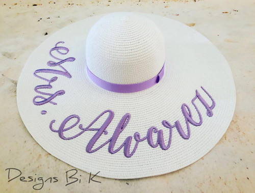 Personalized wide brim white color 6 inch floppy beach sun hat embroidered with Mrs last name