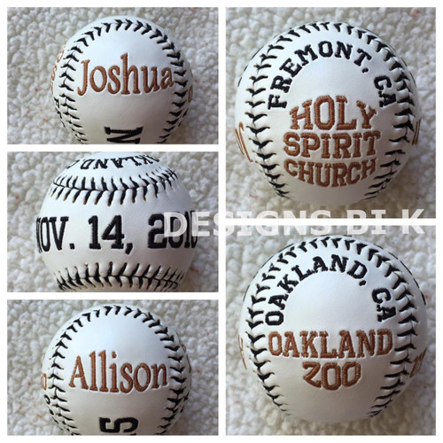 Custom embroidered wedding baseball with location