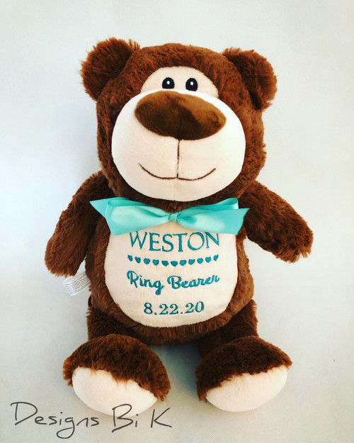 Personalized stuffed animal for ring bearer