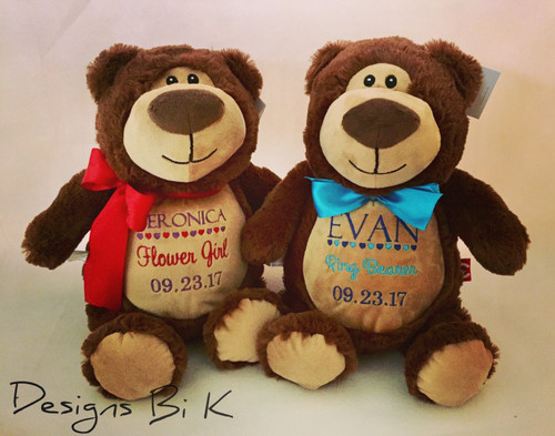 Personalized stuffed animal for ring bearer and flower girl