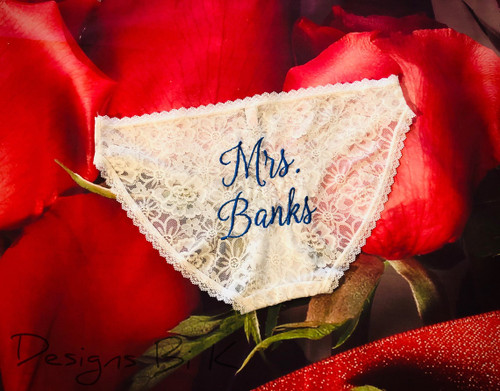 Embroidered bride lingerie with Mrs