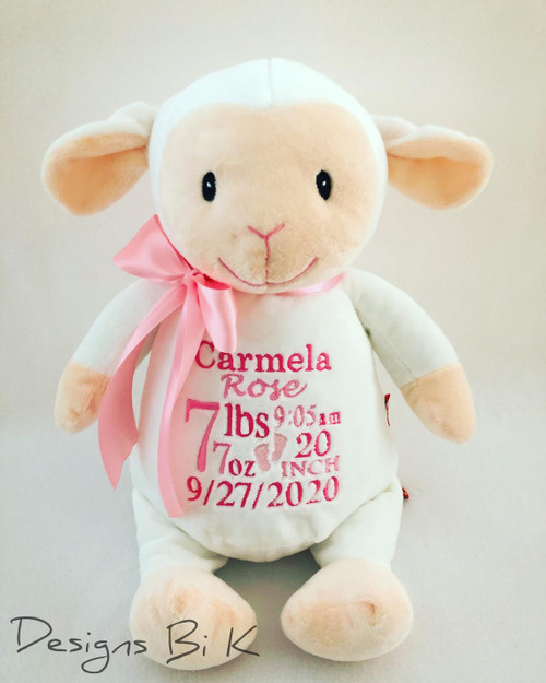 Personalized stuffed animal with birth announcement