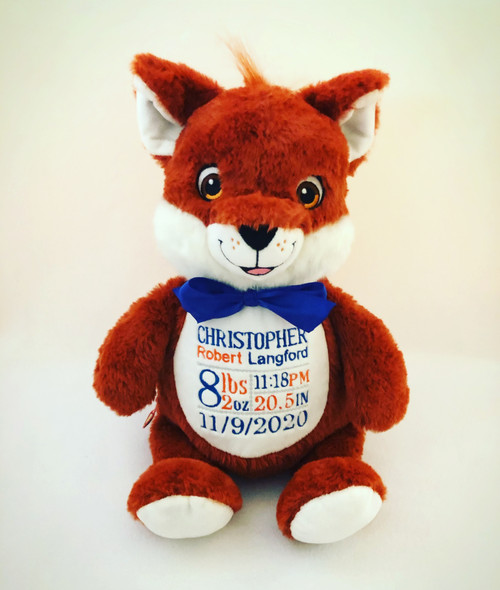 Custom embroidered birth stats fox stuffed animal