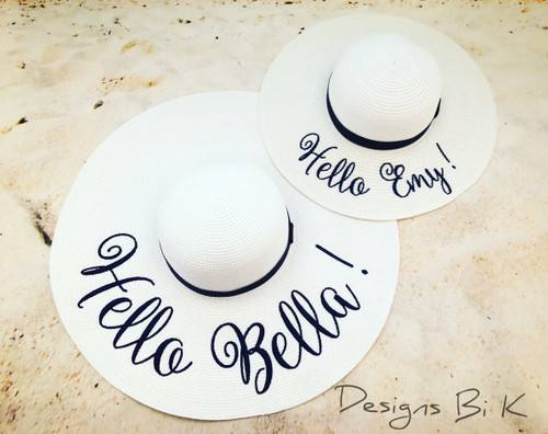 Personalized white color mother daughter matching beach hats with Hello & First names