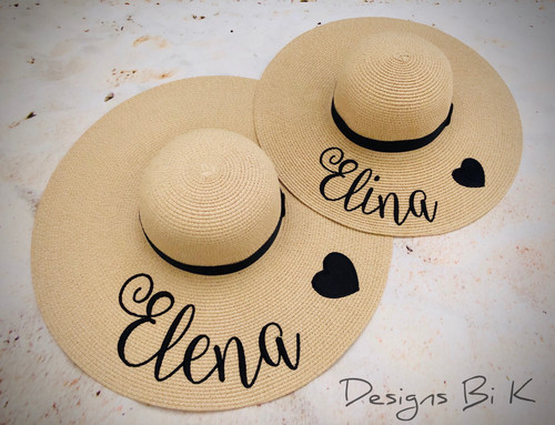 "Custom embroidered natural color mother daughter matching beach hats with ""First name + heart"""