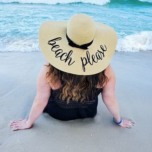 Beach Please custom embroidered women's floppy beach straw hat