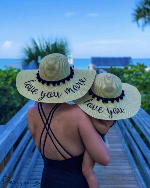 Love you and love you more  personalized matching beach hat set