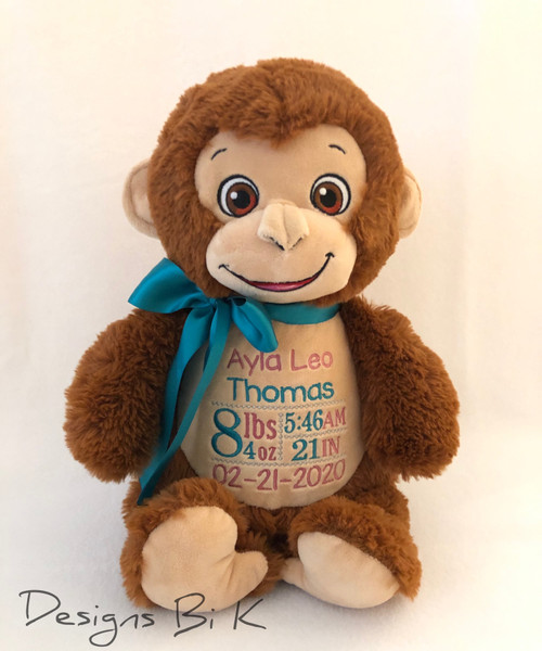Custom Embroidered Monkey Stuffed Animal