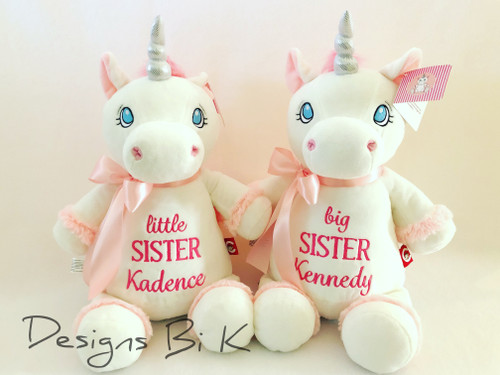 Little sister and Big Sister personalized stuffed animals