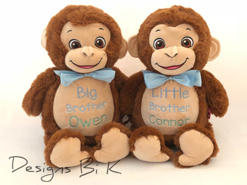 Big Brother and Little Brother custom embroidered stuffed animals