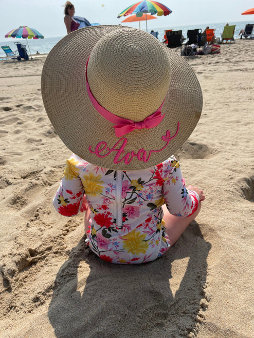 Customized baby natural color beach hat embroidered with first name