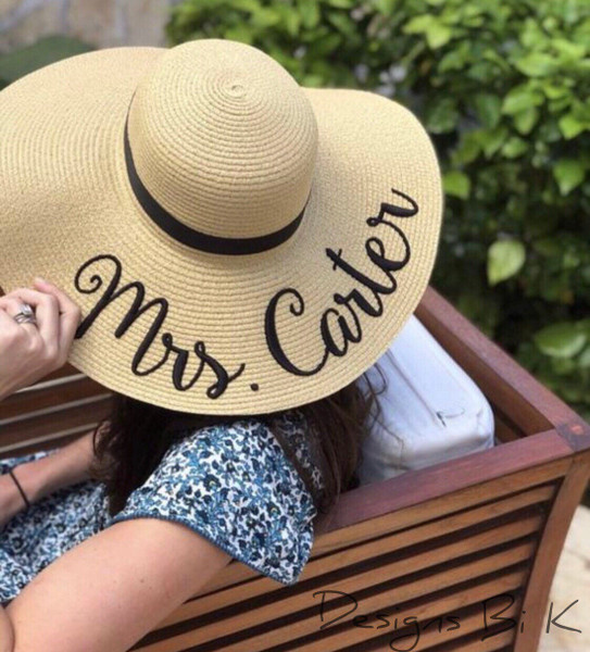 Custom natural color 5 inch floppy beach sun hat embroidered with Mrs last name
