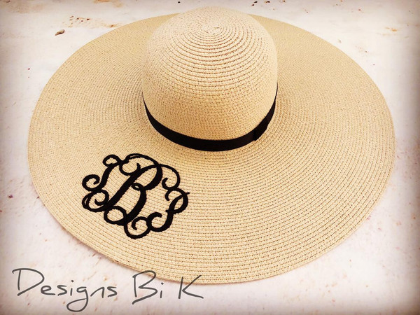 Embroidered women's natural color floppy beach straw hat with three initials