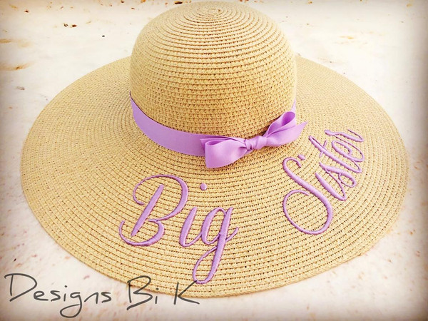 Embroidered natural color floppy beach hat with Big Sister