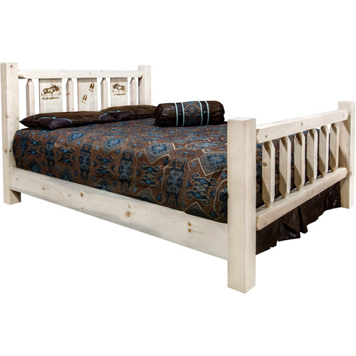 Ranchman's Bed with Laser-Engraved Moose Design