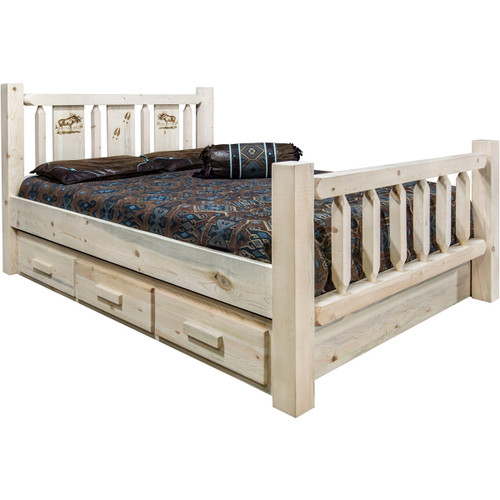 Ranchman's Storage Bed with Laser-Engraved Moose