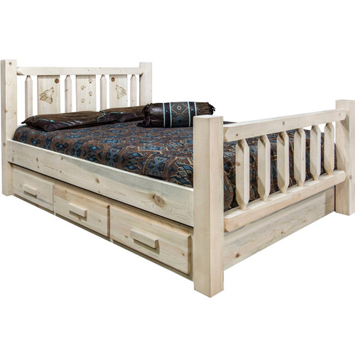 Ranchman's Storage Bed with Laser-Engraved Wolf