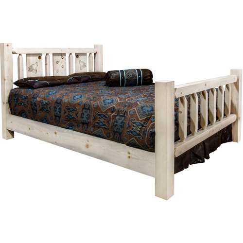 Ranchman's Bed with Laser-Engraved Wolf Design