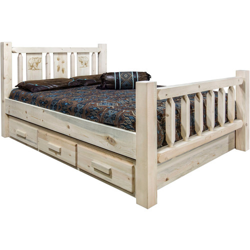Ranchman's Storage Bed with Laser-Engraved Bear