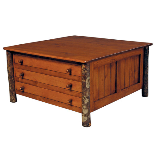 Black Forest Six Drawer Hickory Cocktail Table