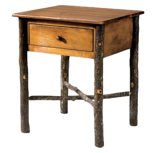 Black Forest Hickory Natural Bark Occasional Table