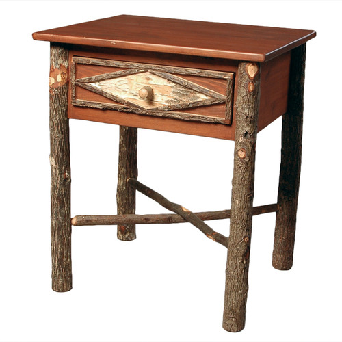 Black Forest Hickory and Birch Bark Nightstand