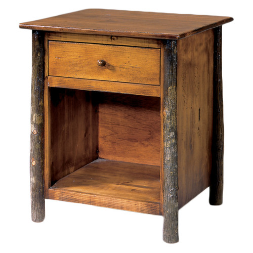 Black Forest Hickory Natural Bark Open Nightstand