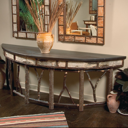 Black Forest Large Hickory and Birch Bark Console Table