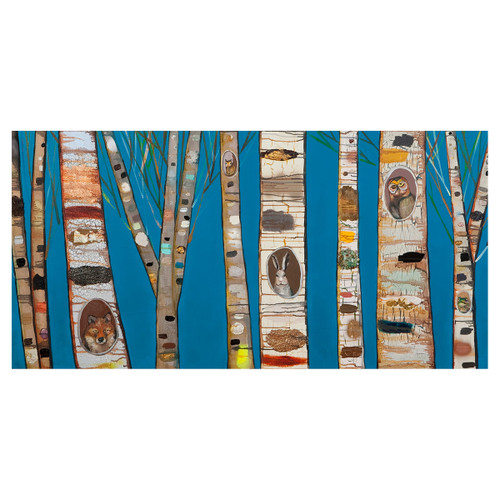 Friends of the Forest Blue Canvas Art