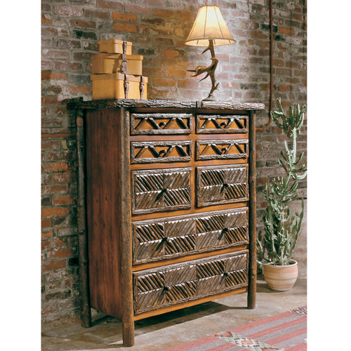 Black Forest Mosaic Eight Drawer Chest