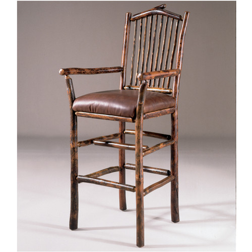 Black Forest Arched Hickory Bar Chair with Arms