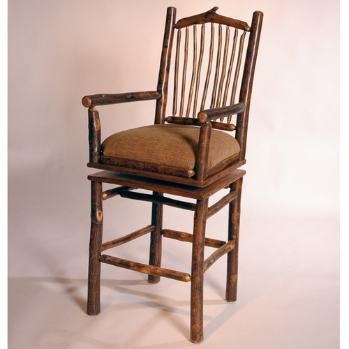 Black Forest Arched Hickory Swivel Bar Chair